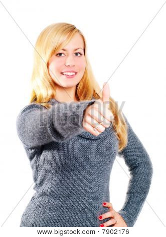 Blond Woman Pointing Ok Sign Over White