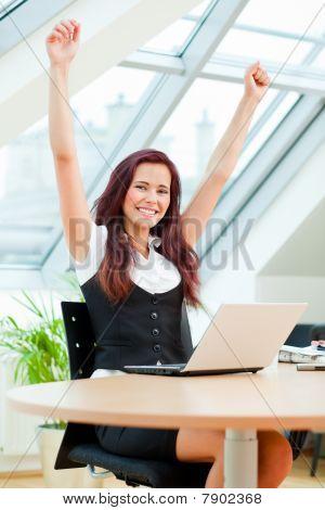 Jubilating Female Clerk