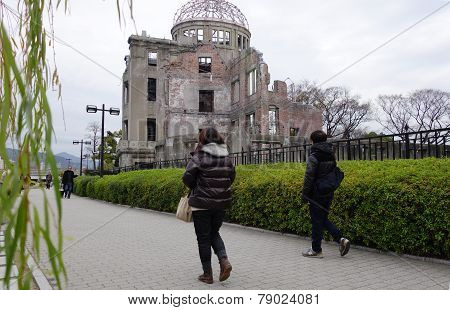Tourists Visit Atomic Bomb Dome In Hiroshima, Japan