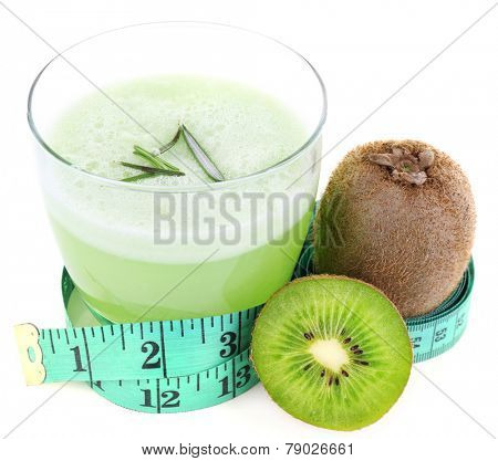 Glass of fresh green juice with centimeter and kiwi isolated on white
