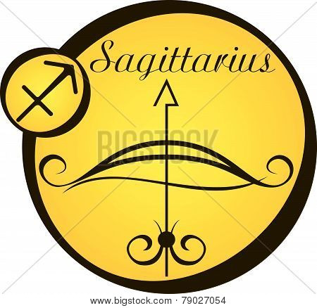 Stylized Zodiac Signs In A Yellow Circle - Sagittarius.eps