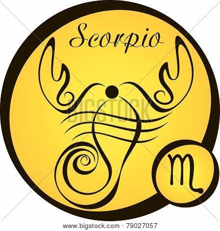 Stylized Zodiac Signs In A Yellow Circle - Scorpio.eps