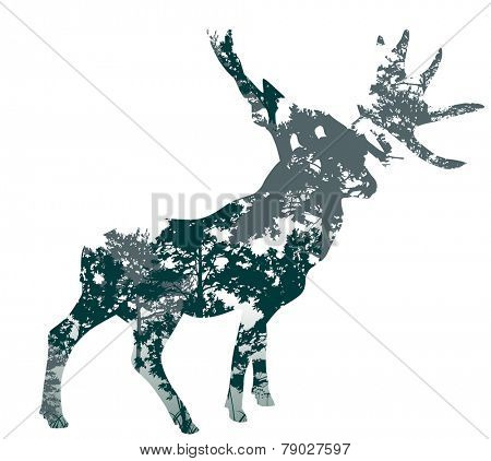 illustration with deer silhouette from trees branches isolated on white background