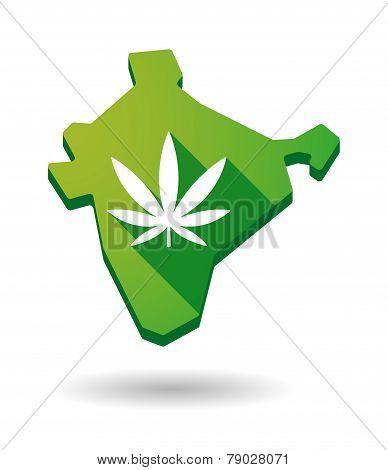 India Map Icon With A Marijuana Leaf