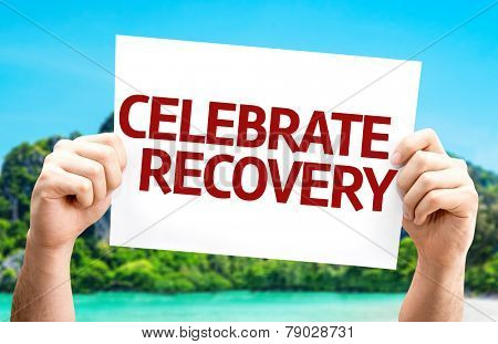 Celebrate Recovery card with a beach on background