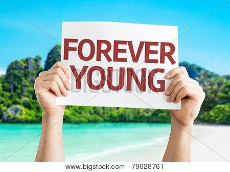Forever Young card with a beach on background