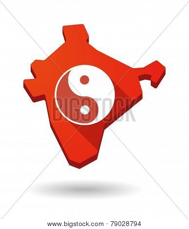 India Map Icon With A Ying Yang