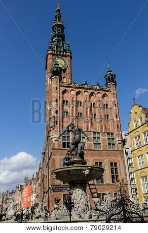 Neptune Fountain with Town hall behind,Gdansk, Po