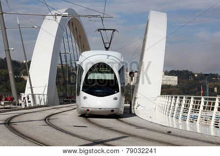 Tramway on a bridge near Confluence in Lyon