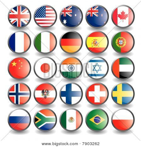 Web buttons with flags isolated on white