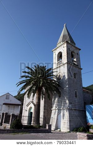 DONJA LASTVA, MONTENEGRO - JUNE, 08: Catholic Church of Saint Roch, on June 08, 2012, in Donja Lastva, Montenegro