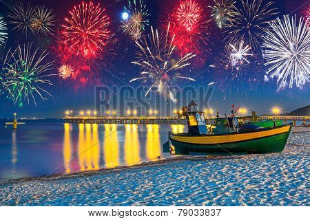 New Years firework display at Baltic Sea, Poland