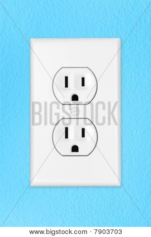 Light Switch On Blue Wall