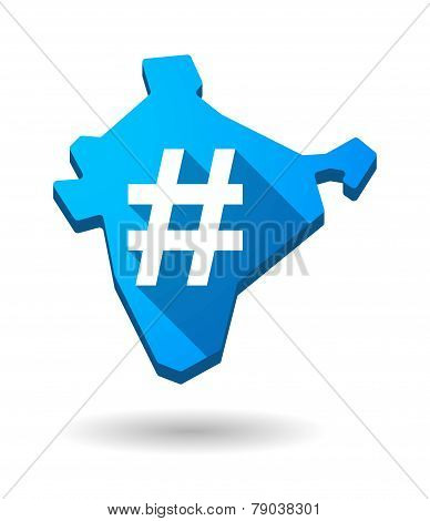 India Map Icon With A Hash Tag