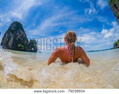 Woman on the tropical beach of Railay beach thailand