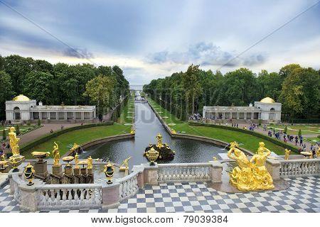 Fountains Grand Cascade In Peterhof, Saint Petersburg, Russia