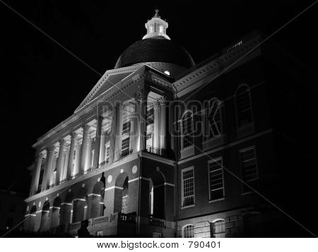 Black and White Night Shot of Statehouse