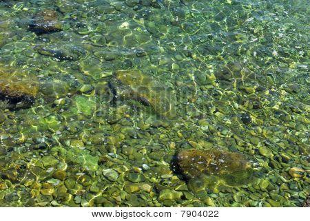 pebble under water