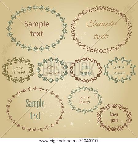 Mega set of the most popular ellipse frames with sample text