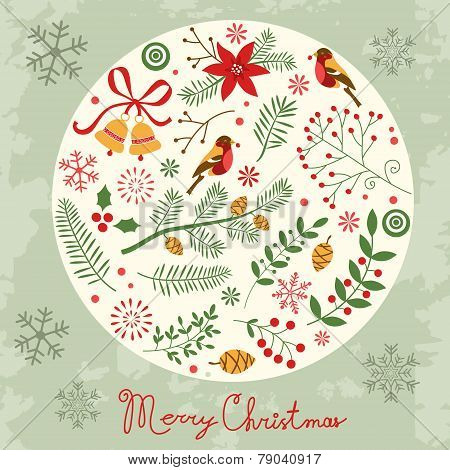 Christmas card with decorative elements