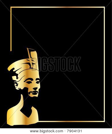 the gold vector head of Nefertiti