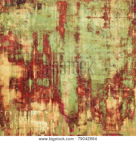 Grunge texture with decorative elements and different color patterns: yellow (beige); brown; green; red (orange)