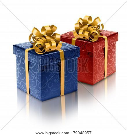 Stylish Blue And Red Present Boxes