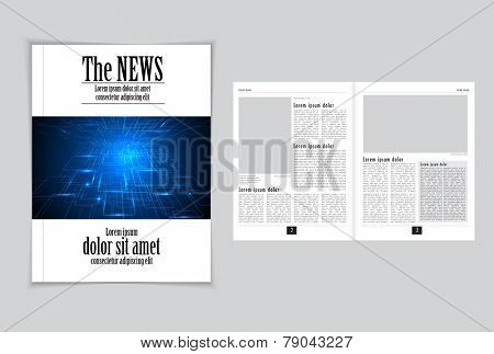 Graphical design magazine template. Vector