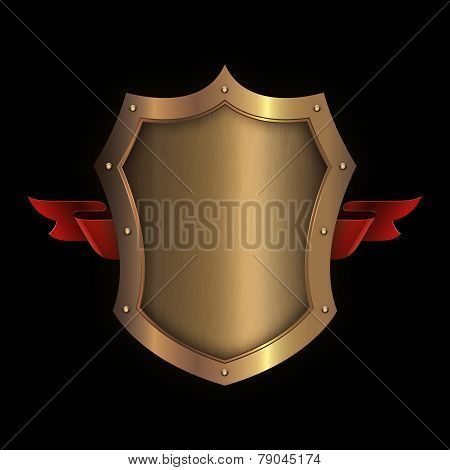 Gold Riveted Shield With Red Ribbon.