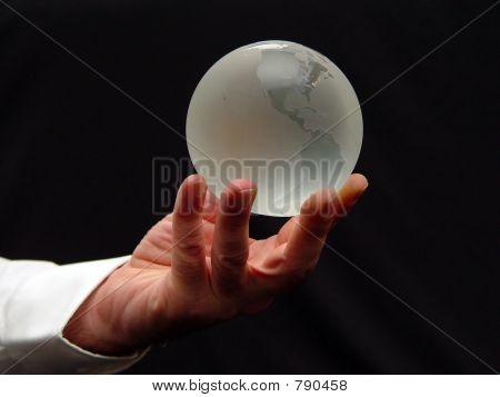 Glass World Globe at Your Fingertips