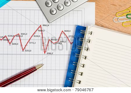 pen and graph growth, workplace businessman