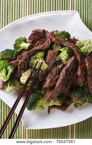 Chinese Beef With Broccoli Closeup. Vertical Top View