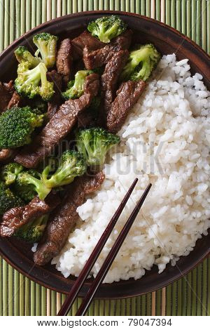 Beef With Broccoli And Rice Macro. Vertical Top View