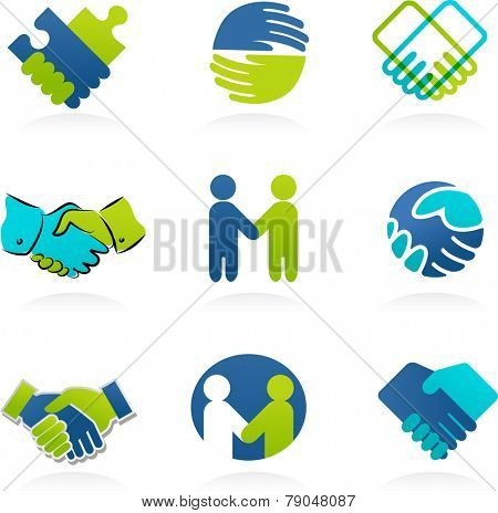 collection of business handshake and partnership icons