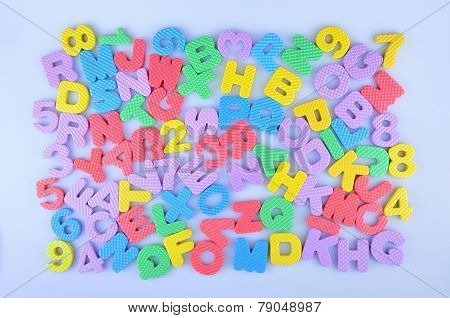 Random colorful English alphabet and numbers