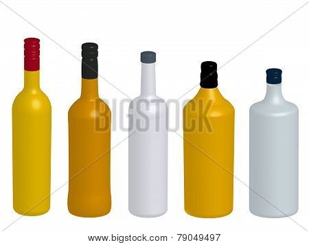Different Kinds Of Spirits Bottles Without Labels 3D