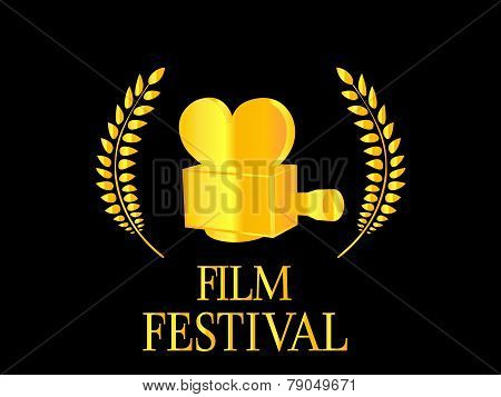 Film Festival Poster With Camera on Black Background