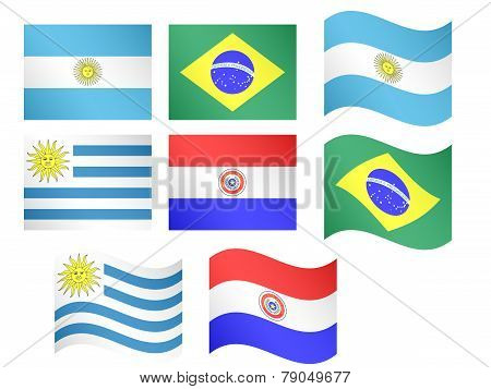 South America Flags - Argentina, Brazil, Uruguay, Paraguay