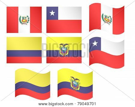 South America Flags - Peru, Chile, Colombia, Ecuador