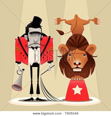 Lion Tamer with lion.