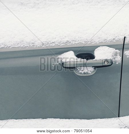 Winter Freezing Car, Frozen Handle Door Vehicle In The Snow