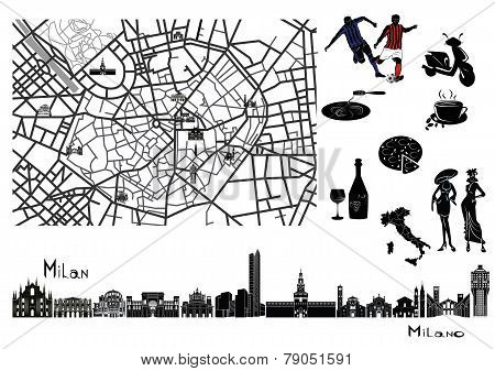 Map, Sights  And Hallmarks Of Milan