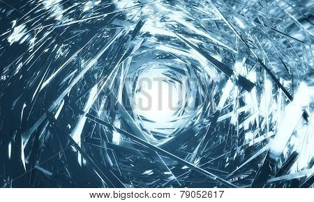 Tunnel shape made of glossy metal
