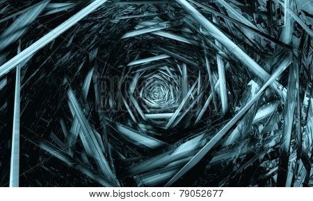3d tunnel made of metal