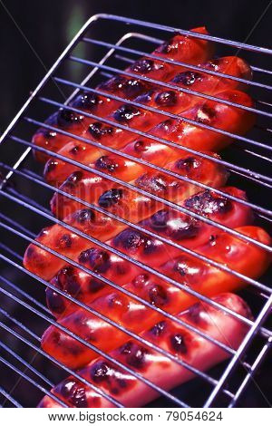 grilled beef pork sausages with marks