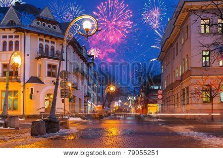New Year firework display in Zakopane, Poland