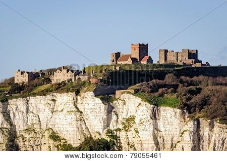 Dover, England, White Cliffs And Castle