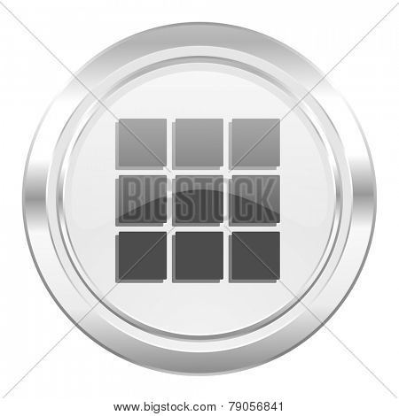 thumbnails grid metallic icon gallery sign
