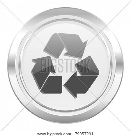 recycle metallic icon recycling sign