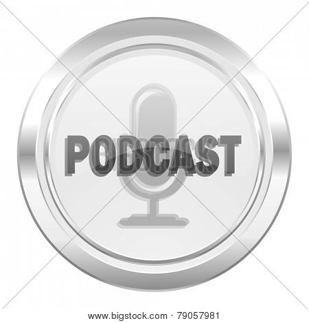 podcast metallic icon